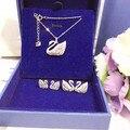 Designer de moda 925 de prata banhado a platina 3A Cubic Zirconia festa brinco / colar de coração