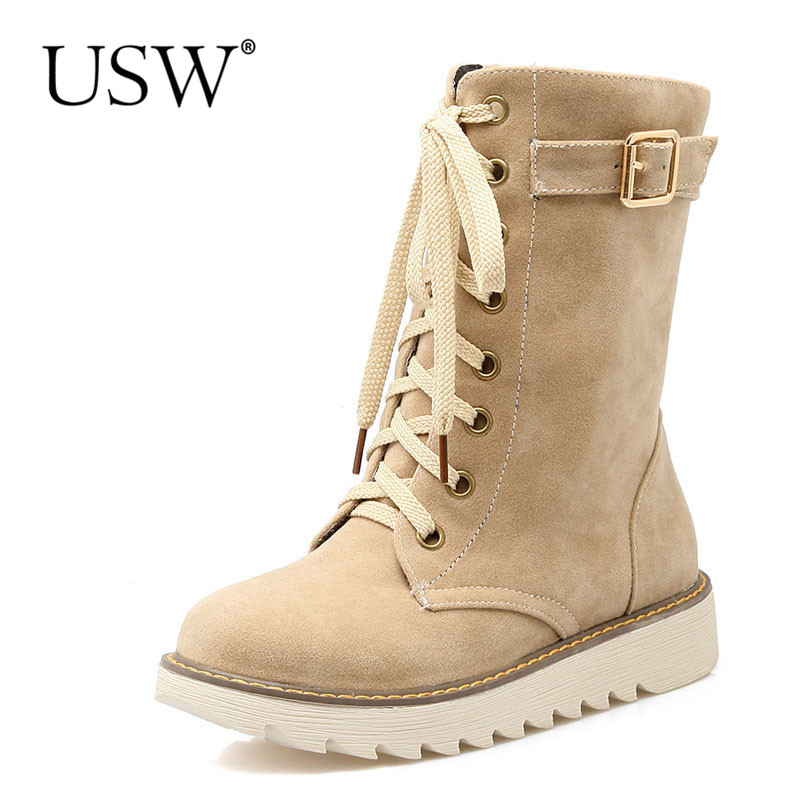 High Quality Women Snow Boots 2016 Winter Boots Lace Up Ankle Casual Warm Shoes Women Nubuck Leather Plush Fur Big Size only true love high quality women boots winter snow boots