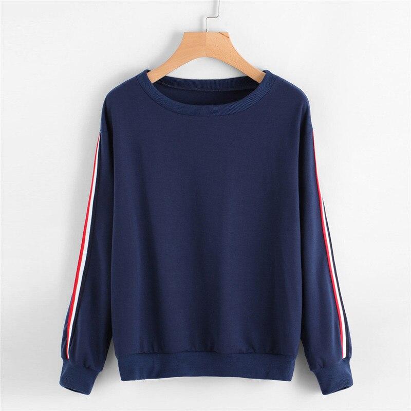 Mooistar #W003 Women Female Sweatshirt Tracksuit Casual Sweatshirt Long Sleeve Stripe Tops O-Neck Pullover Blouse For Women