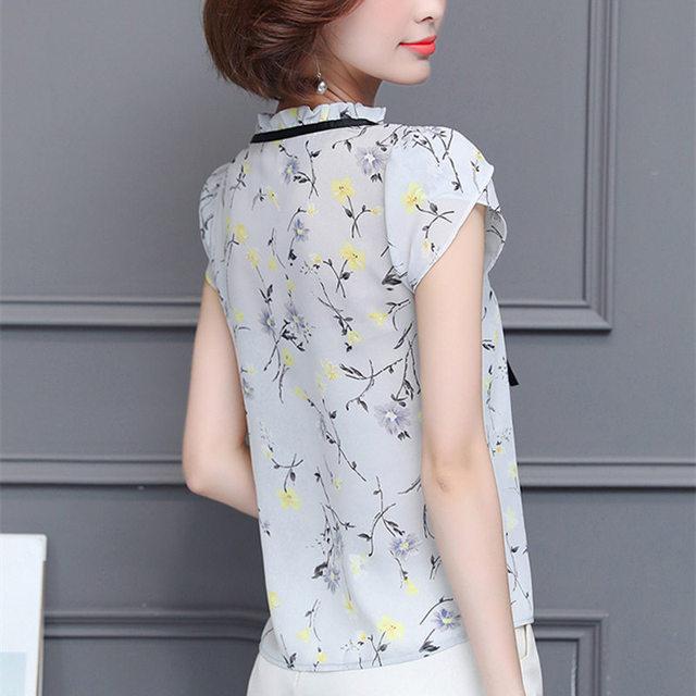 New 2018 Floral Chiffon Blouses Women Summer Tops And Shirts Bow Sweet Blouse Female Short Sleeve Clothing Feminina 0009 30 2