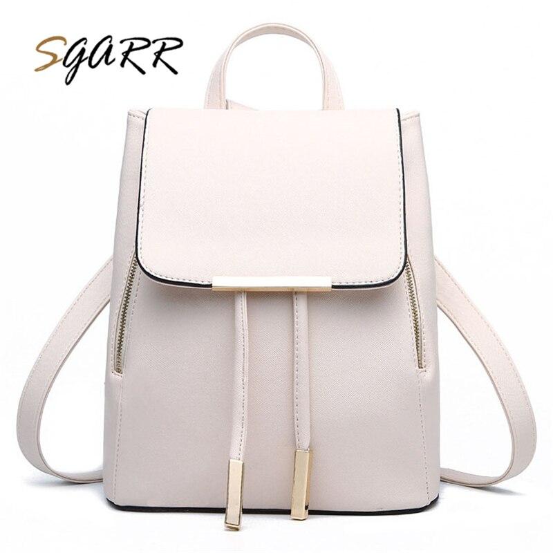 SGARR Women Backpacks Solid Fashion School Bag For Teenage Ladies School Bags Shoulder Pu Leather Female Travel Small Purse