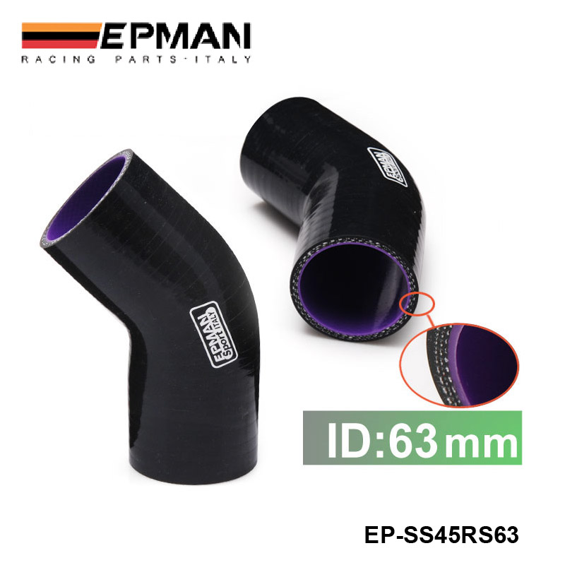 Black Silicone Hose 63mm 45 Degree Elbow Reducer Pipe Hose For Seat 2001-2006 EP-SS45RS63 купить недорого в Москве