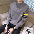 Hombres T-Shirt de Moda de corea Rayas de Manga Larga T Shirt Soporte Botón de cuello Slim Fit Diseño Mens T-shirt Plus Tamaño Camisetas y Tops