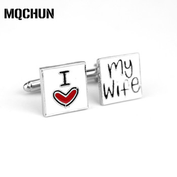New Style Men's Shirt CuffLink Romantic I Love My Wife Charms Alloy Cuff Buttons Casual Cuff Links Jewelry Accessories Gifts-20 image