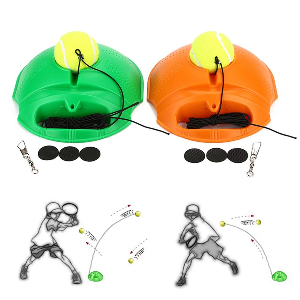 Tennis Ball Back Base Trainer Set With Long Rubber Elastic Rope Band For Single Person Practice Tennis Trainer Aids