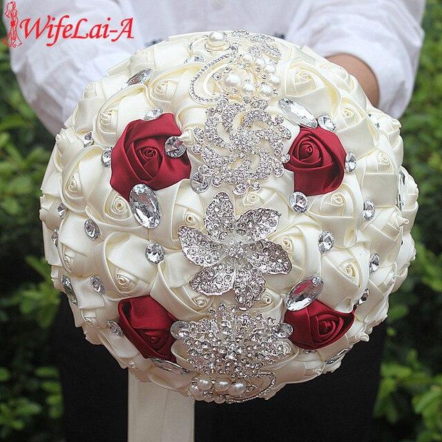 In Stock Artificial Wedding Bouquets Hand made Flower Rhinestone Bridesmaid Crystal Bridal Wedding Bouquet de mariage 37Color