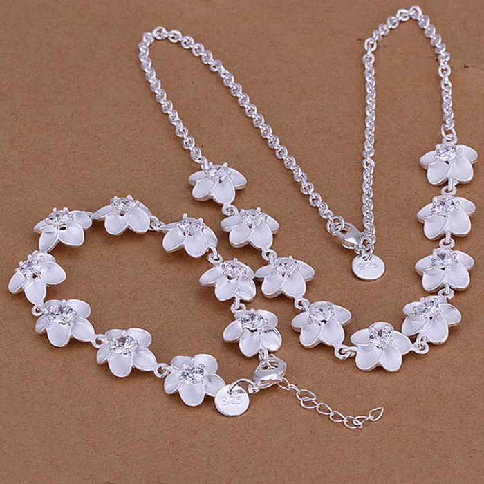 wholesale silver plated jewelry sets 925 fashion jewelry set rhinestone flower necklace&bracelet Jewelry Sets