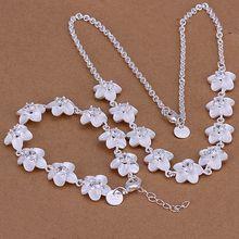 Оптовая продажа посеребренная ювелирных изделий устанавливает 925 мода ювелирных изделий комплект горный хрусталь цветок ожерелье и браслет ювелирных изделий