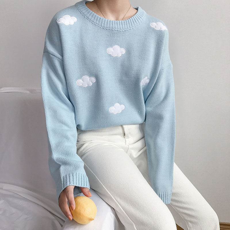 NORMOV Kawaii Korean Casual Women Sweater O Neck Long Sleeve Loose Cloud Solid Pullovers Autumn Winter Fashion Knitted Sweater