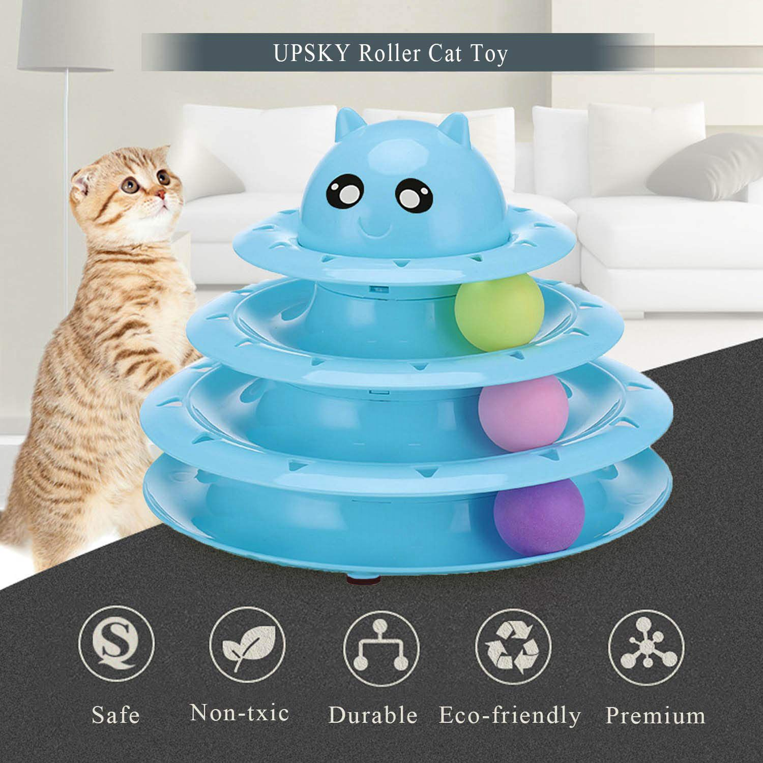 Cats Toys Ball Tower Cat Fun 3-Level Tower Ball & Track Indoor Cats Pet Roller Ball Cat Play Super Roller Super Fun PP Materia