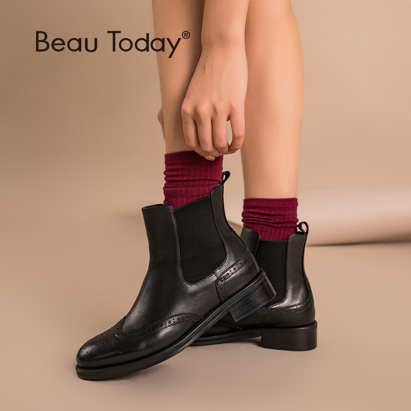 Chelsea Boots Women Brogue Boot BeauToday Brand Genuine Leather Wingtip Quality Calfskin Ankle Shoes Handmade Plus Size 03026