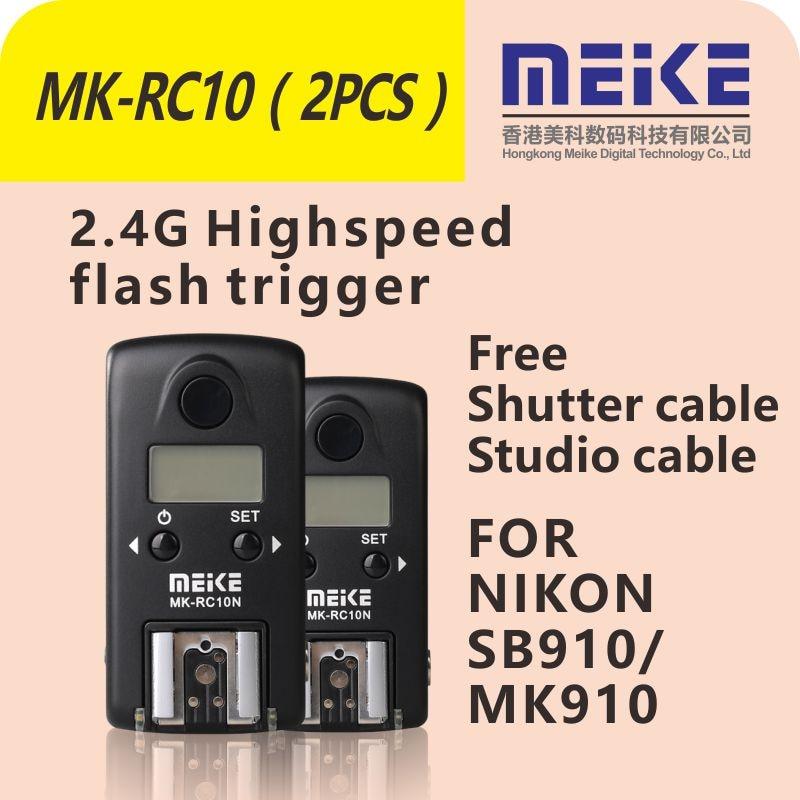 MEKE Meike MK-RC10N High speed transmitter-receiver Flash trigger set for Nikon Speedlite SB900 SB910 MK910 N1 N2 N3 рассеиватель для фотокамеры 3 nikon sb 910 sb 900 sb 800 700 600 canon yongnuo yn600ex rt flash