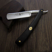 Classic Fashion Men Shaving Straight Razor Titan Barber Razor Black Ebony Wood Handle Folding Knife Kapper Navalha De Barbeiro