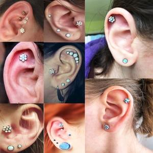 Image 5 - BOG 10 Piece G23 Titanium Opal Gem Labret Lip Bar Ring Opal&Zircon Flower Ear Cartilage Tragus Helix Piercing Screw Fit Top 16g