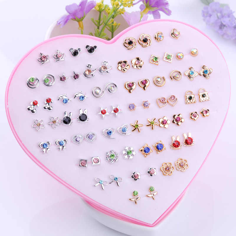 36Pairs/set Mix Mini Handmade Flower Clay Earring Stud Sets Fruit Earring Set for Child Girls with Heart Box Earrings Jewelry
