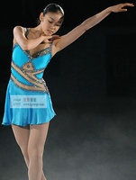 Синий Фигурное катание платья девушки Пользовательские лед фигурное катание платье дорогую одежду для фигурного катания для девочек Беспл