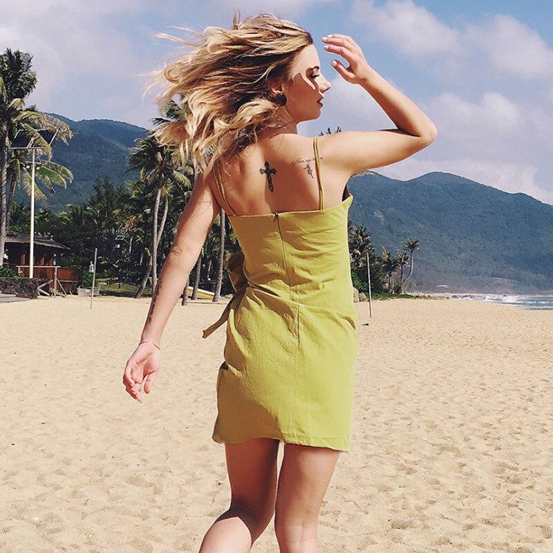 Сексуальная спинки пляжное платье мини женщина Boho бантом нерегулярные ремень Платья для женщин модные без рукавов чистого хлопка Высокое к...