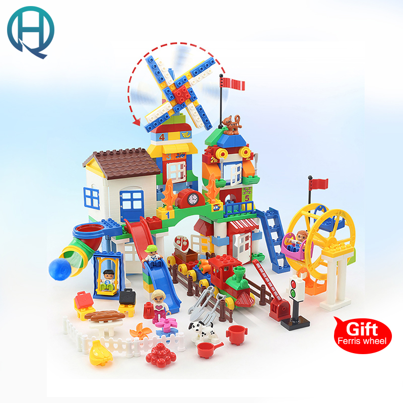 HuiMei Rotary Windmill Manor Big Building Blocks Bricks Baby Early Educational Learning Gift Toys for Children Kids huimei basic edition diy model big building blocks bricks baby early educational learning birthday gift toys for children kids