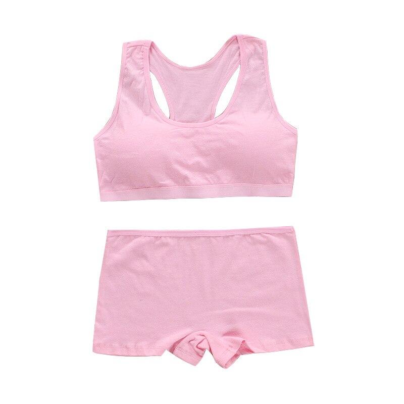 Cotton Bra Set for Teens Training Bras Girls Underwear Set for Teenagers Puberty Girls Underwear Wireless Bra+Underpants Solid 4