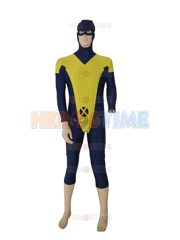 X-Men kostým Žlutá a námořní modrá Spandex Lycra X-muž Zvířecí šperk Vlastní Superhero kostým Zentai oblek pro dospělé / děti / zakázkové