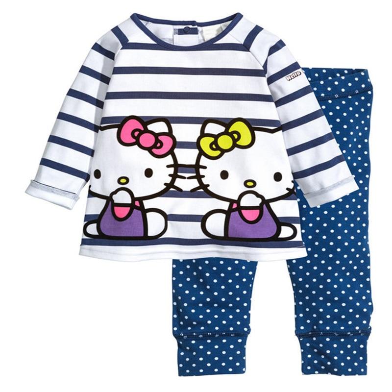 Hello Kitty Cotton Clothing Set Girls Spring Autumn Kids Clothes hello kitty little girls rhinestone 2 piece jogging set