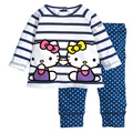 Olá Kitty algodão vestuário Set meninas primavera outono roupa dos miúdos