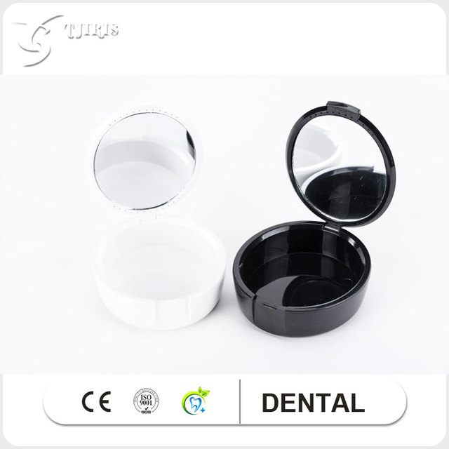 2 pieces Dental Products Orthodontic Retainer Mouthguard White Dentures  Storage Case With Mirror Box