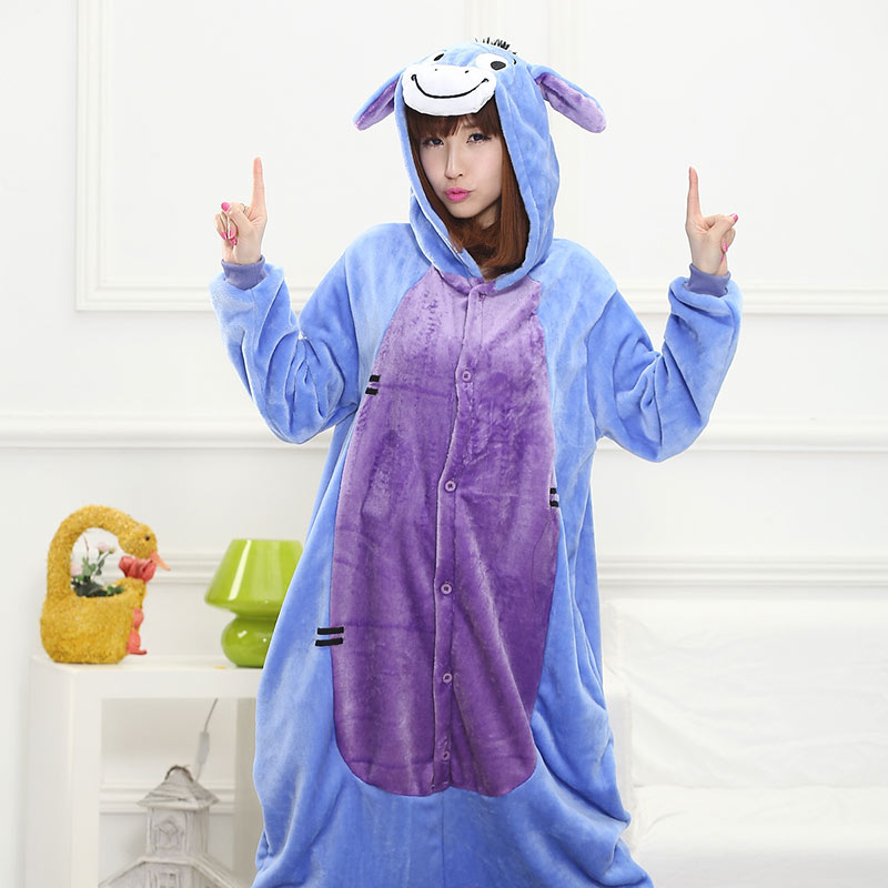 Donkey Kigurumi Onesie Animal Pajama Eeyore Couple Adult Men Women Overall Sleepwear Funny Carnival Party Suit Flannel Soft Warm