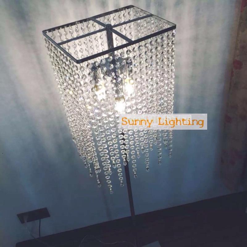 Отель пол канделябры прямоугольный светодиодный Кристалл Торшеры для гостиной пол led индикаторы чтения освещения лампада Da Terra