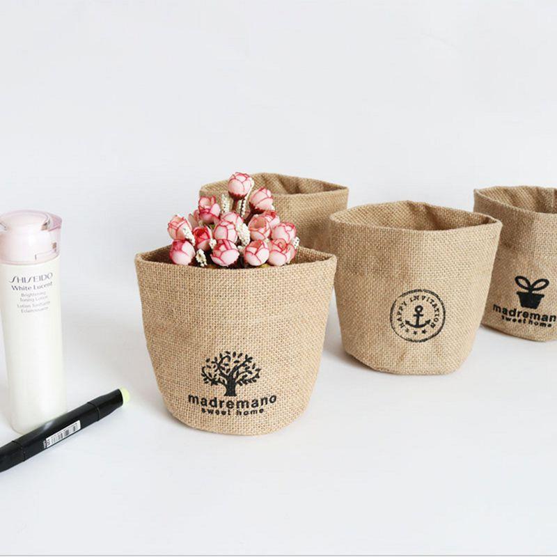 Small Sack Jute Linen Sundries Basket Mini Cosmetic Storage Bag Storage Basket Home Decor 12x12cm S11