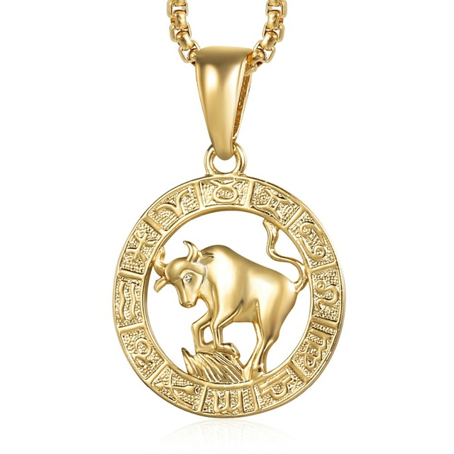 66612b68585d67 Taurus Zodiac Sign Necklace For Women Men Yellow Gold Pendant Necklace Male  Woman Fashion Jewelry Personal