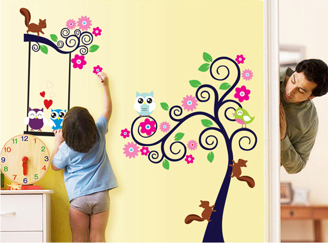 Free shipping!! CC6931 New designer cartoon diy owl tree wall ...