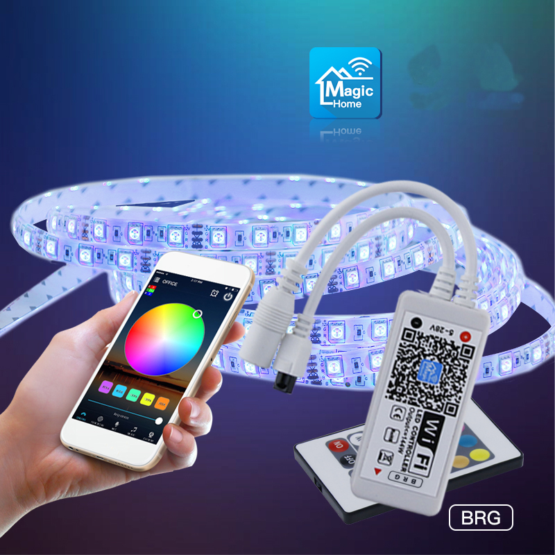 AL-LC03 Super Mini LED WIFI LED RGB APP Controller + 24 Remote Control For RGB LED Strip Light DC5-28V mini wifi rgb strip light controller with music control and voice control compatible with google home