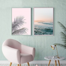 Pink Leaf Scenery Canvas Painting Poster Nordic Posters and Prints Sea Picture Home Decoration Living Room Wall Art Pictures