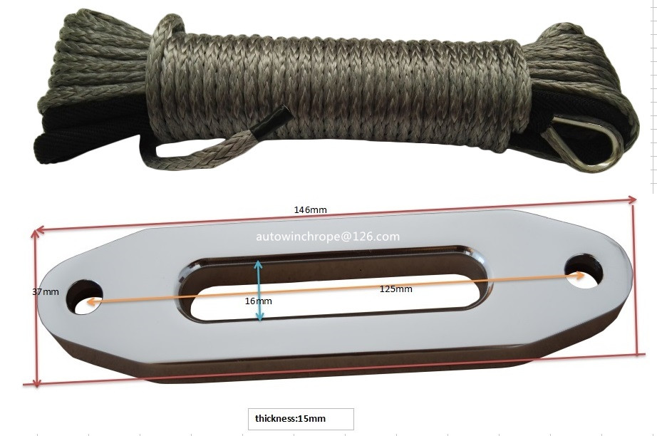 Grey 5mm*15m ATV Winch Line add 4.8 Aluminium Hawse Failead,Synthetic Rope,Kevlar Winch Cable oversea 27m 10mm synthetic winch rope cable with protective sleeve breaking strength 20500 lbs winch line for atv tuck black