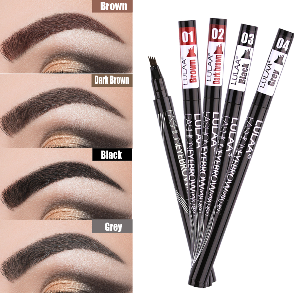 LULAA Waterproof Natural Eyebrow Pen Four-claw Eye Brow Tint Makeup Four Colors Eyebrow Pencil Brown Black Grey Brush Cosmetics(China)
