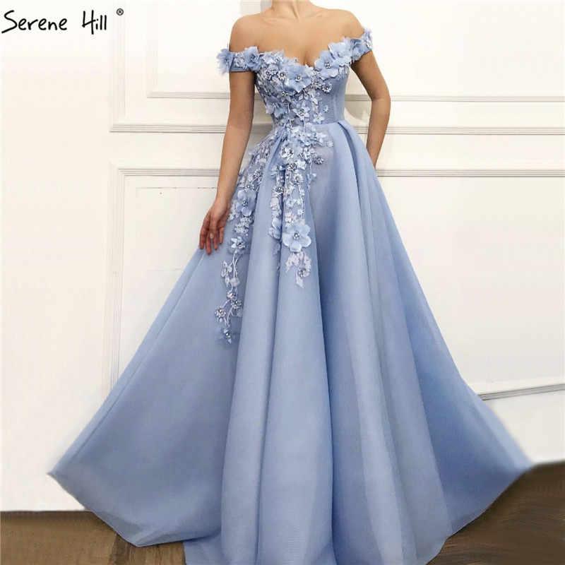 כחול כבוי כתף סקסי חוף ערב שמלות בעבודת יד פרחי פניני שרוולים ערב שמלות 2020 Serene היל LA60868