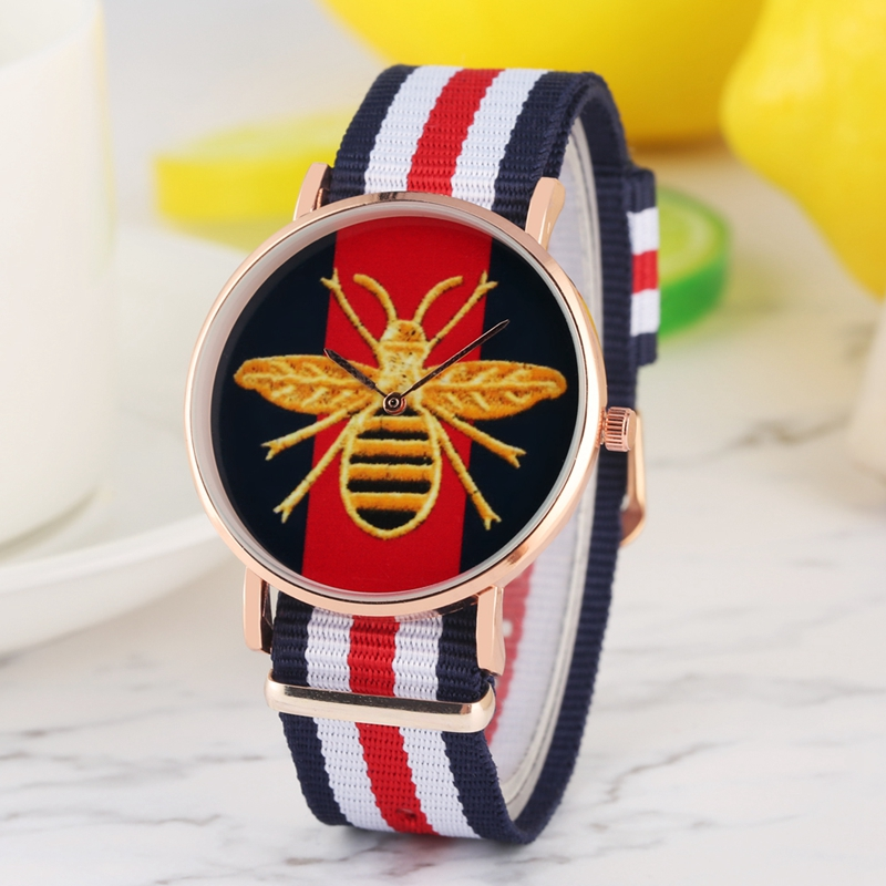 Yellow Bee Bumblebee Design Quartz Watches Men Women Military Fashion Mixed Color Canvas Belt Sport Watch Clock For Women Ladies