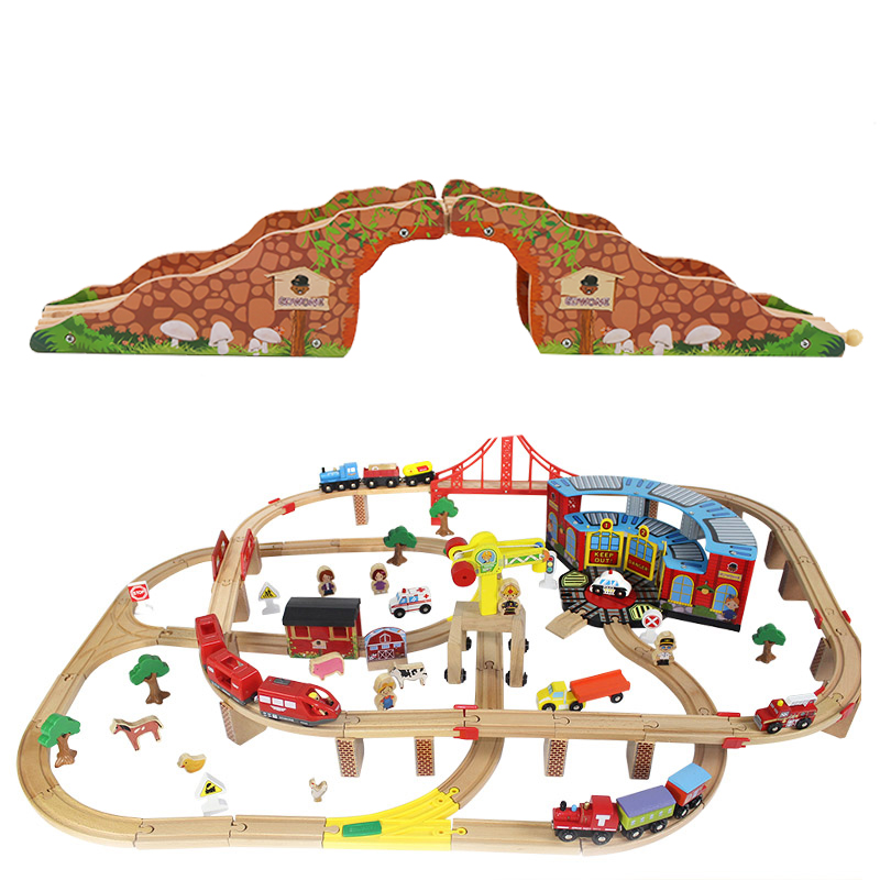 Rail Bridge Toys Wooden Train Track Educational Railway Caves blocks Accessories Toys For Kids Birthday Gifts