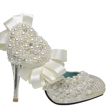 Ultra Luxurious Upper Stiletto Heel Closed Toe With Imitation Pearl Wedding/ Party Shoes 4 Inches Satin Glitter Prom Shoes