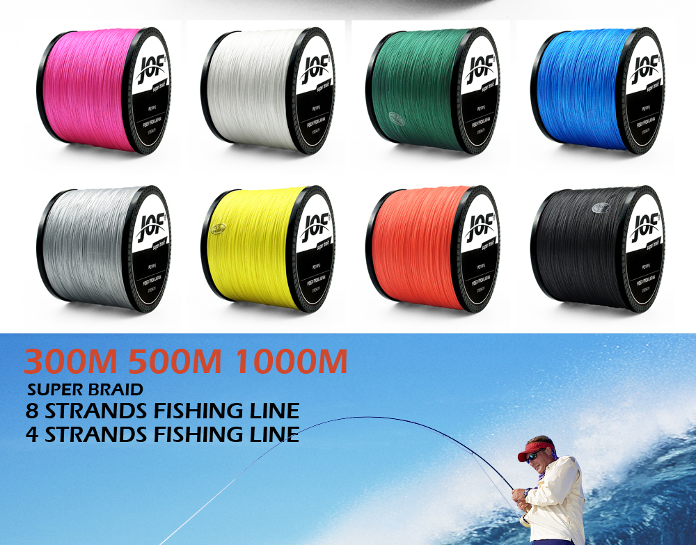 Multicolor 8 Strands 300M 500M 1000M PE Braid Fishing Line Sea Saltwater Fishing Weave 100% SuperPower JOF 8