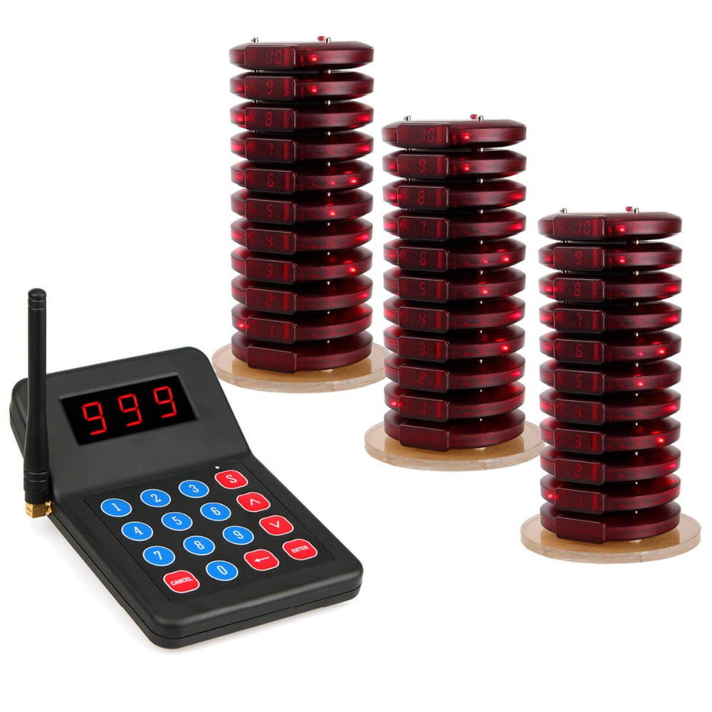 Wireless Calling System Restaurant Pager 30 Coaster Pager+1 Transmitter Waiter Call System Restaurant Equipment F3357 433 92mhz wireless restaurant guest service calling system 5pcs call button 1 watch receiver waiter pager f3229a