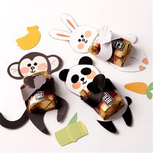 60pcs Paper Card Candy Box Panda/Rabbit/Monkey Chocolate Box Christmas Gifts Baby Shower Kids Birthday Party Decoration Supplies(China)