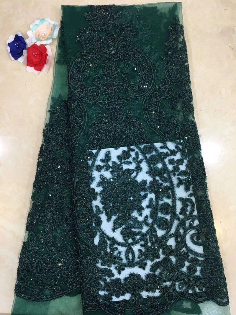 5yards pc high quality emerald green African French net lace fabric with embroidery and sequins