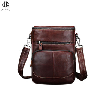 New Oil Waxed Genuine Leather Men's Leisure Shoulder Sling Bags Travel Business Small Messenger Zipper Ipad Bag