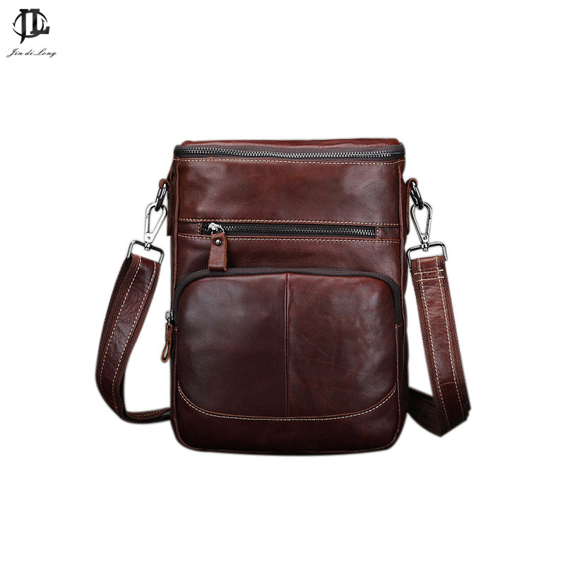 New Oil Waxed Genuine Leather Mens Leisure Shoulder Sling Bags Travel Business Small Messenger Zipper Ipad Bag