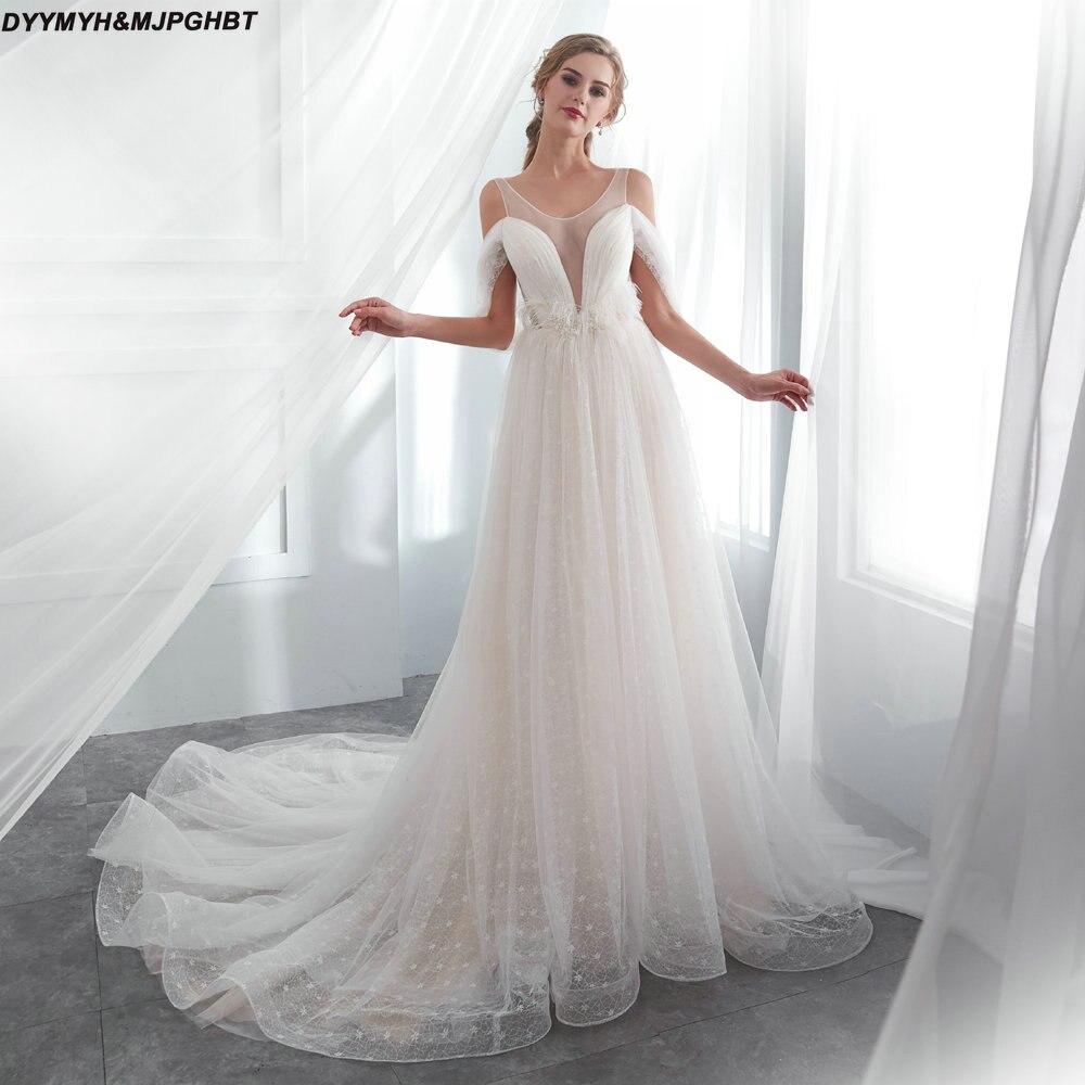 V Neck Backless Wedding Dress