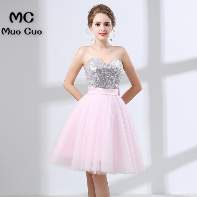 Fashion 2018 Short Evening Prom dresses with sequined Zipper Tulle ...