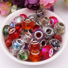 10Pcs New Hot Cut Faceted Powder Glitter Glass Crystal Spacer Murano Beads Charms Fit Pandora Bracelet For DIY Jewelry Making 10pcs hot cut faceted color crystal glass beads fit european bracelet spacer original pandora charm bracelet for jewelry making