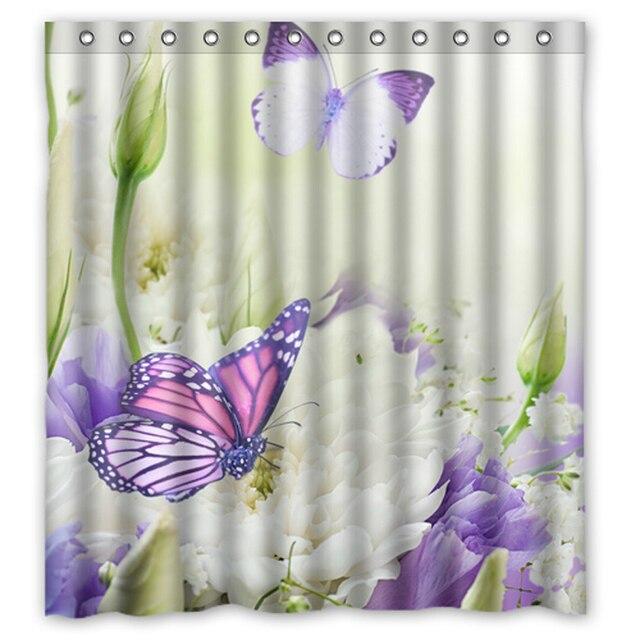26 03 10 De Reduction Papillon Fleur Blanche Custom Made Designer Tissu Rideau Salle De Bain Etanche Rideaux De Douche 48x72 60x72 66x72 Pouces